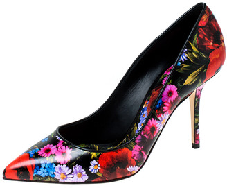 Dolce & Gabbana Multicolor Floral Print Leather Kate Pointed Toe Pumps Size 40.5