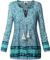 BAISHENGGT Women's Neck Tie Floral Print Ethnic Style Tunic Top