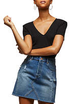 Miss Selfridge Seamed Denim Skirt, Mid Wash Denim