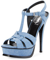 Saint Laurent Tribute Denim 105mm Platform Sandal, Ultramar