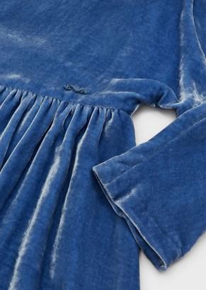 Emporio Armani Velvet Dress With Logo Plate