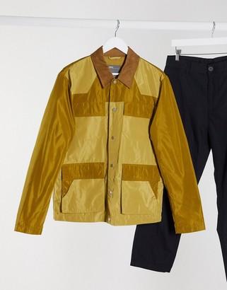 ASOS DESIGN harrington jacket with colourblock and utility pockets
