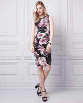 Le Château Floral Print Knit V-Neck Ruched Dress