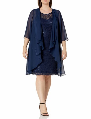 SL Fashions Women's Plus Size Chiffon Tier Jacket Dress with Bead Neck