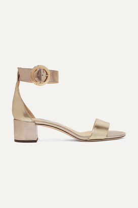 Jimmy Choo Jaimie 40 Metallic Leather Sandals - Gold