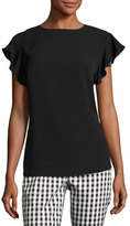 Neiman Marcus Flutter-Sleeve Crepe Top, Black