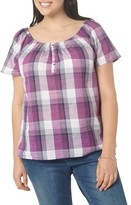 Evans Plus Size Women's Check Off The Shoulder Top