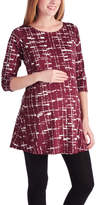 Glam Burgundy & White Abstract Grid Scoop Neck Maternity Tunic
