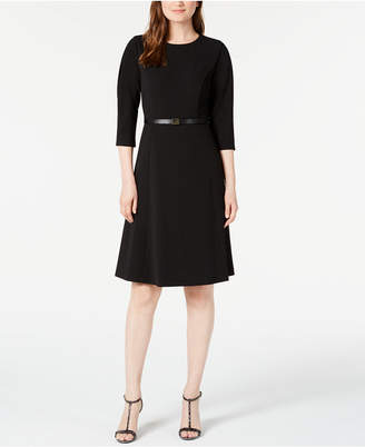 Calvin Klein Belted Pleated-Sleeve Dress
