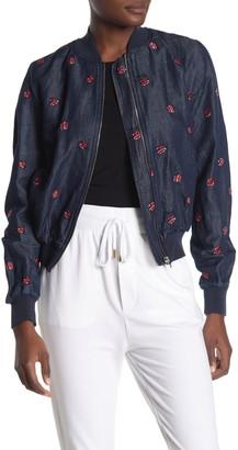 Love Moschino Embroidered Ladybug Chambray Bomber Jacket