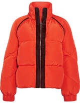 GANNI - Wool Felt-trimmed Quilted Shell Down Jacket - Tomato red