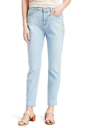 Jen7 Women's Denim Pants and Jeans RTPLYVSTTR - Light Wash Floral Embroidered Slim Boyfriend Jeans - Women