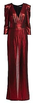 Monroe RetrofÃate Women's Metallic Puff-Sleeve Jumpsuit