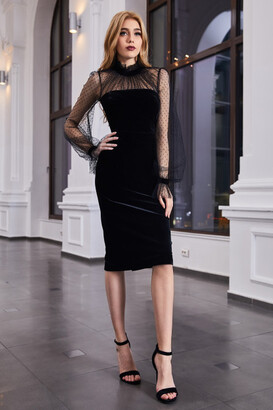 Cristallini Long Sleeve Keyhole Back Velvet Cocktail Dress