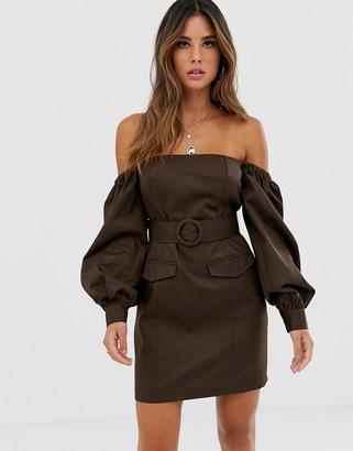 Asos Design DESIGN off shoulder utility mini dress with pockets-Brown