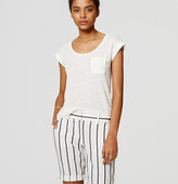 LOFT Striped Bermuda Roll Shorts