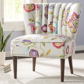 August Grove Harriett Slipper Chair Fabric: Multi-Tonal Purple Polyester Blend