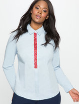 ELOQUII Plus Size Embellished Placket Long Sleeve Button Up