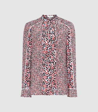 Reiss Ottilie - Floral Printed Blouse in Red