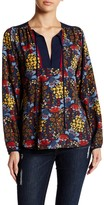 Romeo & Juliet Couture Flower Print Split Neck Blouse