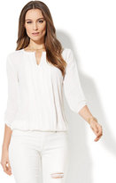 New York & Co. 7th Avenue - Pleated Keyhole Blouse