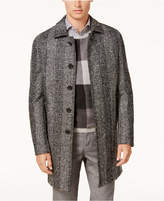 Ryan Seacrest Distinction Men's Modern-Fit Black/White Plaid Overcoat, Created for Macy's