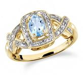 2/3 CT TW Sky Blue Topaz Yellow Silver Halo Ring with Diamond Accents by JewelonFire