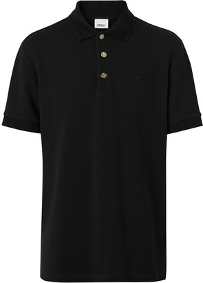 Burberry Monogram Embroidered Cotton Polo Shirt