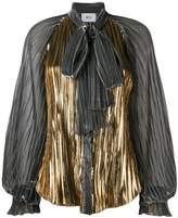 Pussy Bow Pleated Blouse