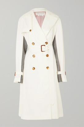 Alexander McQueen Belted Cotton-gabardine And Houndstooth Wool Trench Coat - Ivory