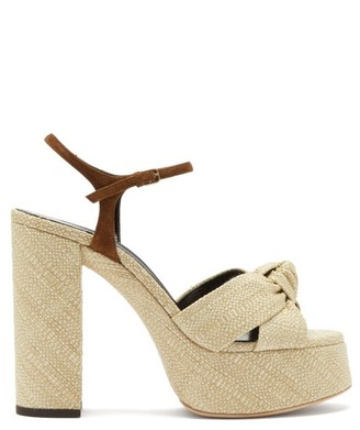 Saint Laurent Bianca Raffia Platform Sandals - Cream