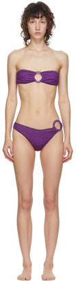 Oseree Purple Lurex Strapless Ring Bikini