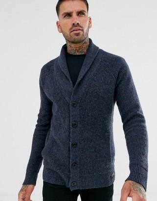 Hollister heavy knit shawl collar cardigan in navy