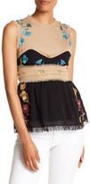 Cynthia Rowley Embroidered Raw Edge Sleeveless Blouse
