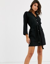 Asos DESIGN mini shirt dress with belt in linen