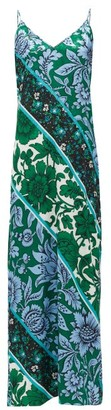 Erdem Wallpaper Kati Star Printed Crepe Slip Dress - Womens - Green Print