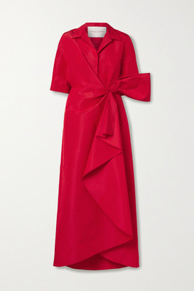 Carolina Herrera Wrap-effect Bow-embellished Draped Silk-faille Gown - Red