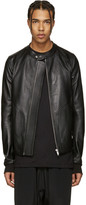 Rick Owens Black Leather Panelled Jacket