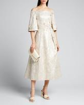 Theia Beaded Metallic Jacquard Off-the-Shoulder Bell-Sleeve Midi Dress