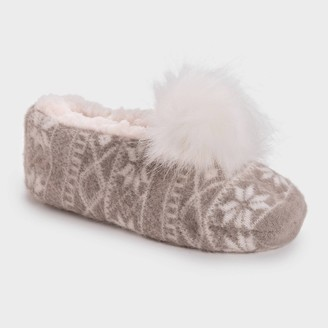 Muk Luks Women's Ballerina Slipper Socks with Pom Poms -