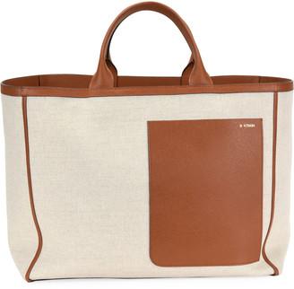 Valextra Borsa Canvas Shopper Tote Bag