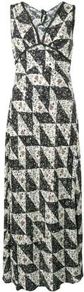 ALEXACHUNG Bias floral tile print dress