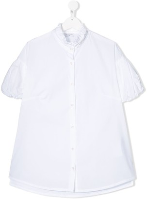 MonnaLisa TEEN frilled loose-fit cotton shirt