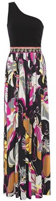 Emilio Pucci One-shoulder Ponte And Printed Jersey Maxi Dress