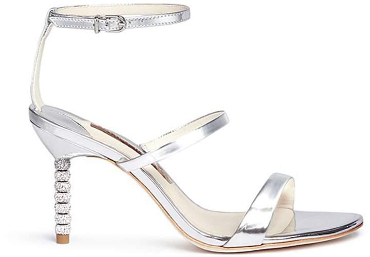Sophia Webster 'Rosalind' crystal pavé bead heel mirror leather sandals