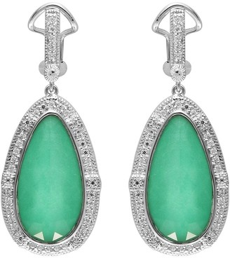 Sterling Silver Chrysoprase Doublet & White Topaz Earrings