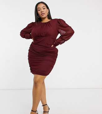 NaaNaa Plus mesh long sleeve bodycon dress in wine