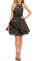 Ellie Wilde Lace and Organza Layered Two-Piece Dress
