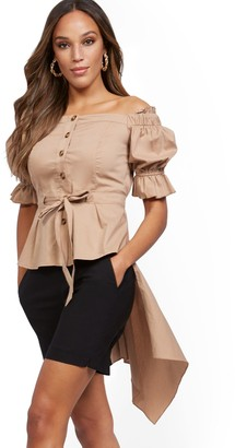 New York & Co. Off-The-Shoulder Hi-Lo Poplin Shirt
