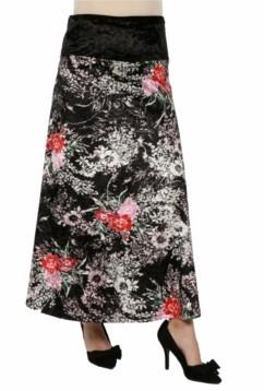 24Seven Comfort Apparel Women's Floral Print Velvet Maternity Maxi Skirt